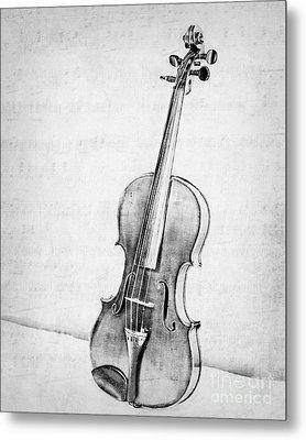 Violin In Black And White Metal Print
