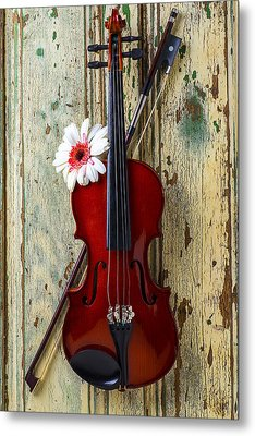 Violin On Old Door Metal Print by Garry Gay