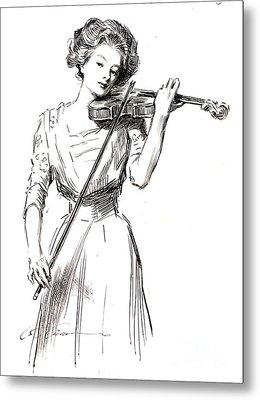 Violinist 1910 Metal Print