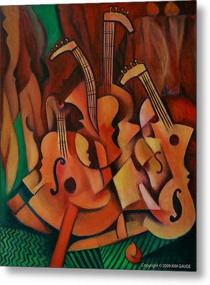 Violins With Mandolin Metal Print by Kim Gauge