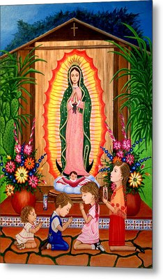 Metal Print featuring the painting Virgen De Guadalupe #3 by Evangelina Portillo