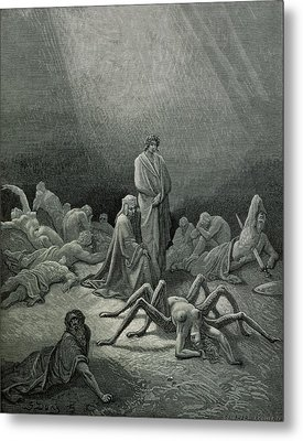 Virgil And Dante Looking At The Spider Woman, Illustration From The Divine Comedy Metal Print