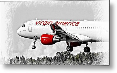 Airplane Metal Print featuring the photograph Virgin America Mach Daddy  by Aaron Berg