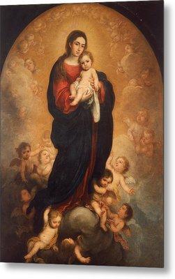 Virgin And Child In Glory Metal Print by Bartolome Esteban Murillo