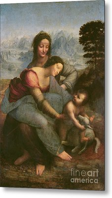 Virgin And Child With Saint Anne Metal Print by Leonardo Da Vinci