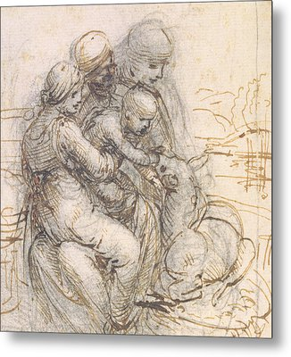 Virgin And Child With St. Anne Metal Print by Leonardo da Vinci