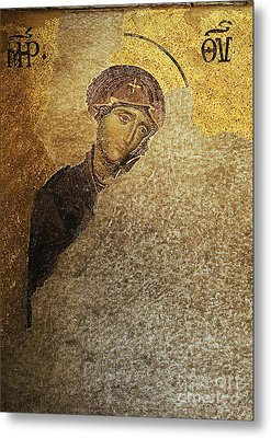 Virgin Mary-detail Of Deesis Mosaic  Hagia Sophia-day Of Judgement Metal Print