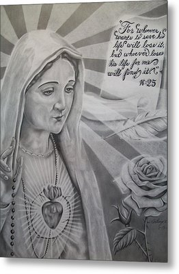 Virgin Mary With Flower Metal Print by Anthony Gonzalez