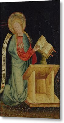 Virgin Of The Annunciation, From The Harvester Altar, C.1410 Tempera On Oak See Also 145253 Metal Print by Master Bertram of Minden