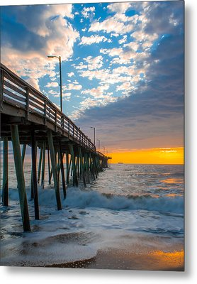 Virginia Beach Pier Into The Sun Metal Print