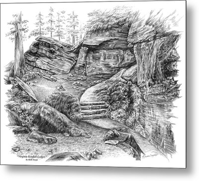 Metal Print featuring the drawing Virginia Kendall Ledges - Cuyahoga Valley National Park by Kelli Swan