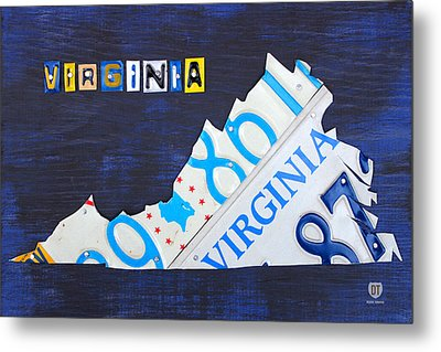 Virginia License Plate Map Art Metal Print by Design Turnpike