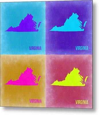 Virginia Pop Art Map 2 Metal Print by Naxart Studio