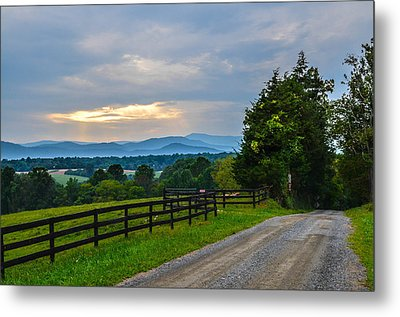 Virginia Road At Sunset Metal Print by Alex Zorychta