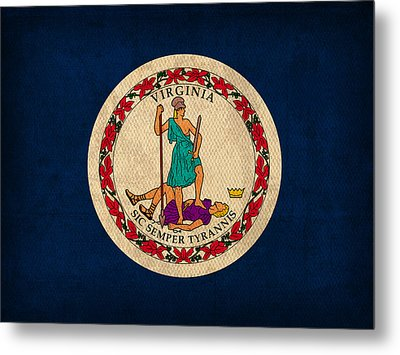 Virginia State Flag Art On Worn Canvas Metal Print by Design Turnpike