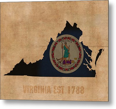 Virginia State Flag Map Outline With Founding Date On Worn Parchment Background Metal Print by Design Turnpike