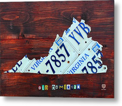 Virginia State License Plate Map Art On Fruitwood Old Dominion Metal Print by Design Turnpike