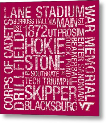 Virginia Tech College Colors Subway Art Metal Print by Replay Photos