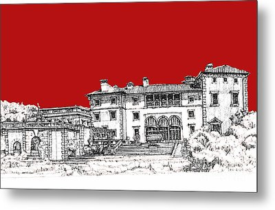 Viscaya Museuem And Gardens In Scarlet Metal Print by Building  Art