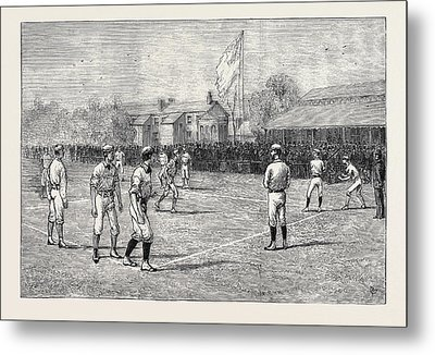 Visit Of The American Baseball Players To England Metal Print by English School