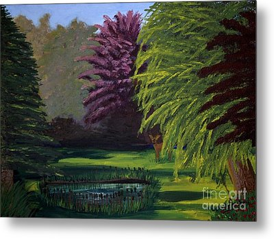 Visitor To The Backyard Pond Metal Print by Vicki Maheu