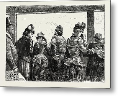 Visitors To The Eiffel Tower, Paris, France Metal Print by Litz Collection
