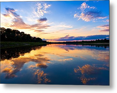 Vistula River Sunset Metal Print by Tomasz Dziubinski