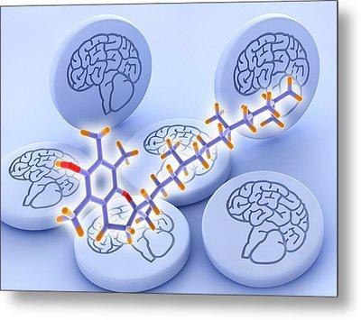 Vitamin E Molecule And Brain Drug Pills Metal Print
