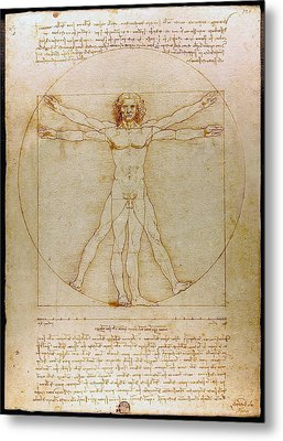 Metal Print featuring the drawing Vitruvian Man By Leonardo Da Vinci  by Karon Melillo DeVega