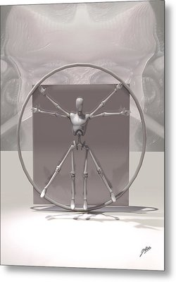 The Vitruvian Android Metal Print by Quim Abella