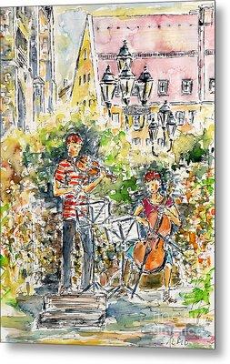 Vivaldi In The Shade Of Saint Laurence Church Nuremberg Metal Print by Alfred Motzer