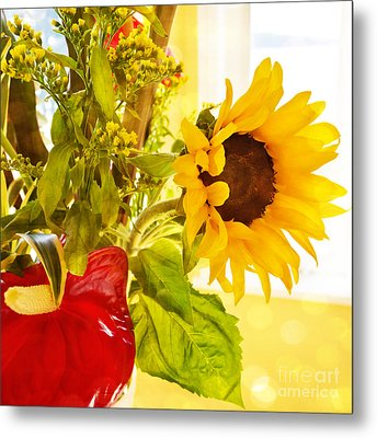 Vivid Cheery Sunflower Bouquet Metal Print by Maria Janicki