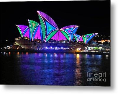 Vivid Sydney By Kaye Menner - Opera House... Patterns 2 Metal Print by Kaye Menner