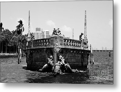 Vizcaya Breakwater Ship Bow And Skyline Biscayne Bay Coconut Grove Miami Florida Black And White Metal Print by Shawn O'Brien