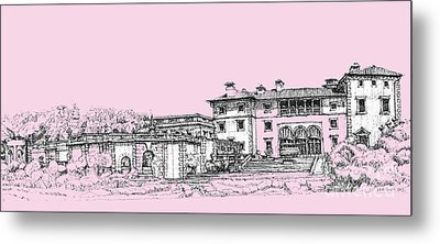 Vizcaya Museum And Gardens Baby Pink Metal Print by Building  Art
