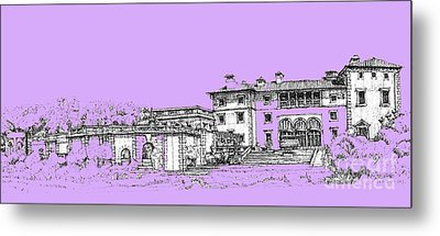 Vizcaya Museum And Gardens In Lilac Metal Print by Building  Art