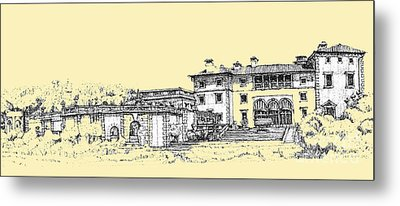 Vizcaya Museum And Gardens In Peachy Cream Metal Print by Building  Art