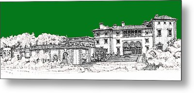 Vizcaya Museum And Gardens In Pine Green Metal Print by Building  Art