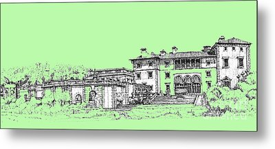 Vizcaya Museum And Gardens In Pistachio Green Metal Print by Building  Art