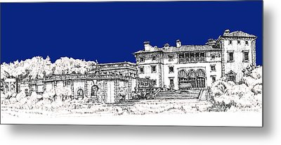 Vizcaya Museum And Gardens In Royal Blue Metal Print by Building  Art