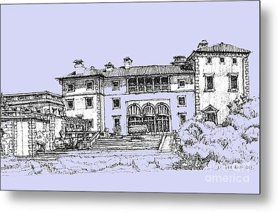 Vizcaya Museum And Gardens Powder Blue Metal Print by Building  Art