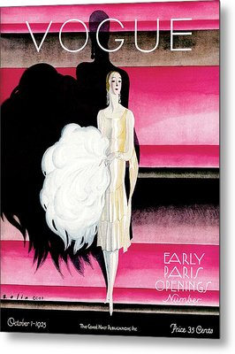 Vogue Cover Featuring A Woman In An Evening Dress Metal Print