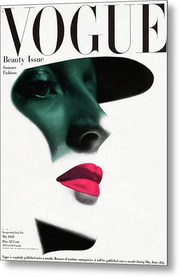 Vogue Cover Featuring A Woman's Face Metal Print