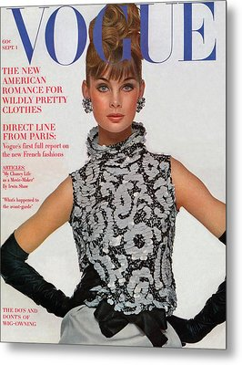 Vogue Cover Featuring Jean Shrimpton Metal Print by Bert Stern