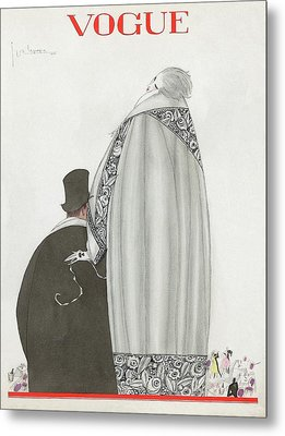 Vogue Cover Illustration Of A Couple Entering Metal Print