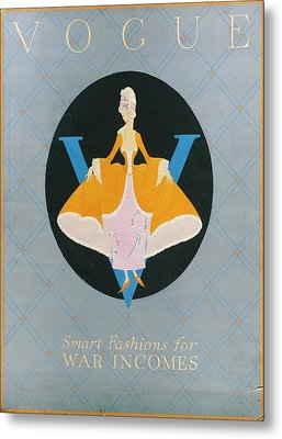 Vogue Cover Illustration Of A Woman In An Orange Metal Print by Dorothy Edinger