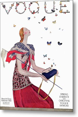 Vogue Cover Illustration Of A Woman Releasing Metal Print