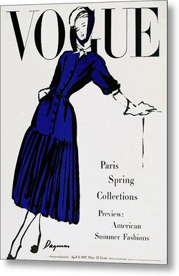 Vogue Cover Illustration Of A Woman Wearing Blue Metal Print