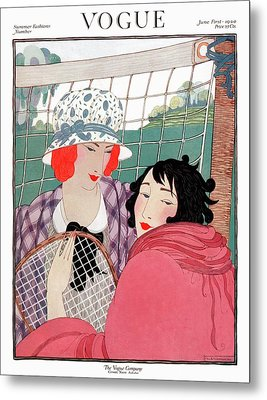 Vogue Cover Illustration Of Two Women In Front Metal Print