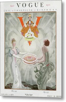Vogue Magazine Cover Featuring Two Women Carrying Metal Print by Georges Lepape & Pierre Brissaud